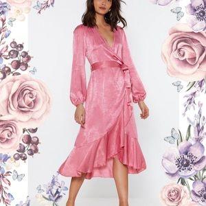Rose Satin Wrap Elegant Frill Dress Nasty Gal